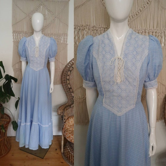 Vintage 1970's blue check prairie maxi dress