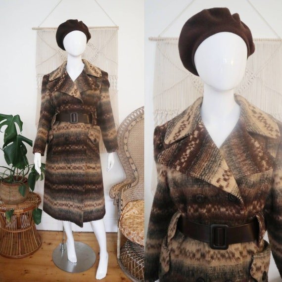 Vintage 1970's belted knitted coat