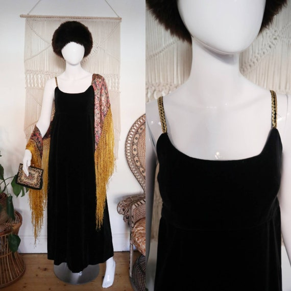 Vintage 1970's Black velvet Quad dress