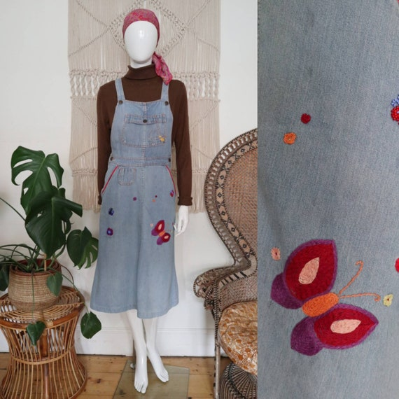 Vintage 1970's embroidered denim pinafore dress -