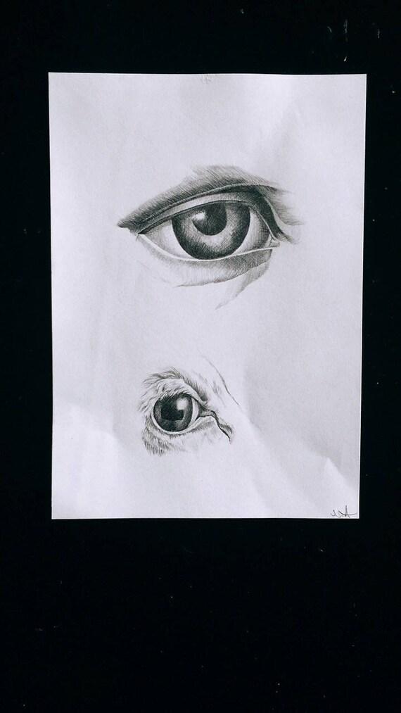 Schwarzen Graphit Kuh und menschliche Auge anatomische