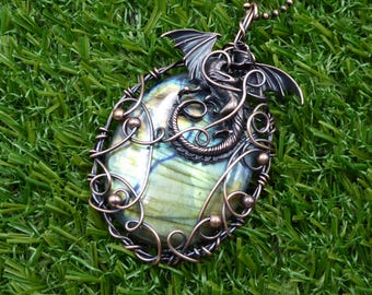 Dragon Eye Necklace Steampunk Eye Necklace Wire Wrapped Eye