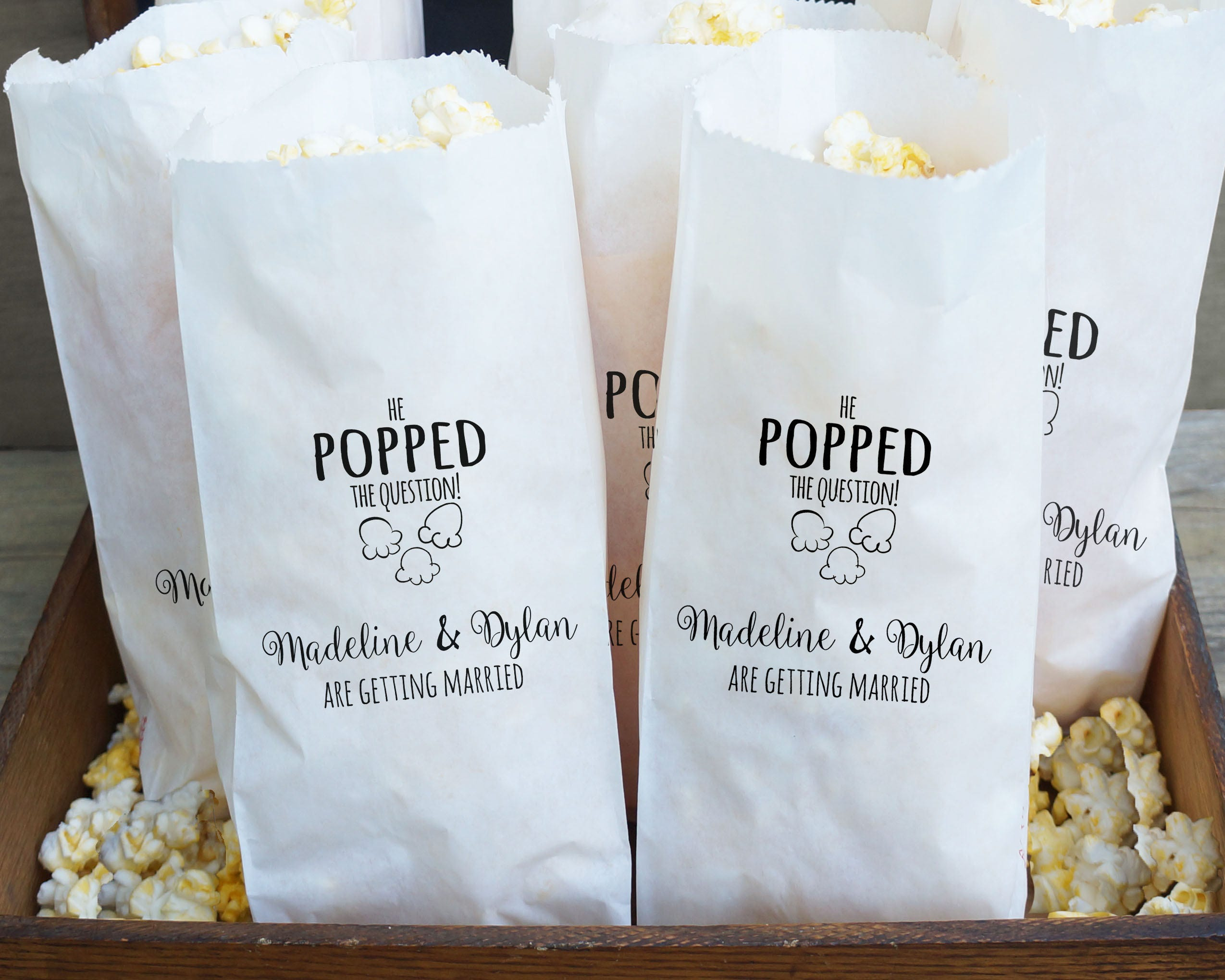 Engagement Party Favor Bags Popcorn Buffet He Popped The