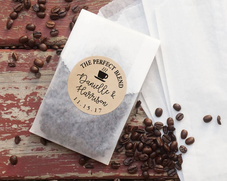 Coffee Wedding Favor Bags Coated Grease Resistant Bags image 0