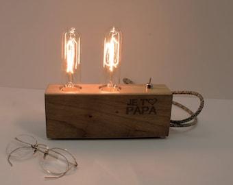 Cadeau unique pour papa, cadeau fête des pères, cadeau pour papa, papa Lampe en bois, lampe de bureau, lampe gravée, cadeau, anniversaire