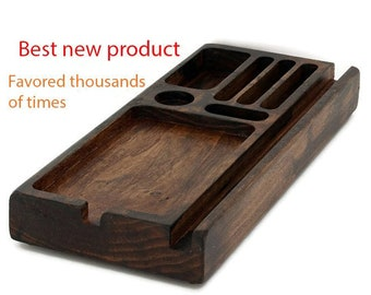 Desk Organizer, Personalized Wood Phone Docking Station, Charging Station, Wood iPhone Dock, iPhone Stand, wood gift idea, shower