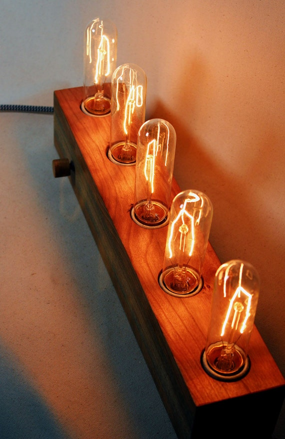 5 Bulb Wooden Edison Lamp Cherry Wood Table Lamp Desk Lamp Etsy