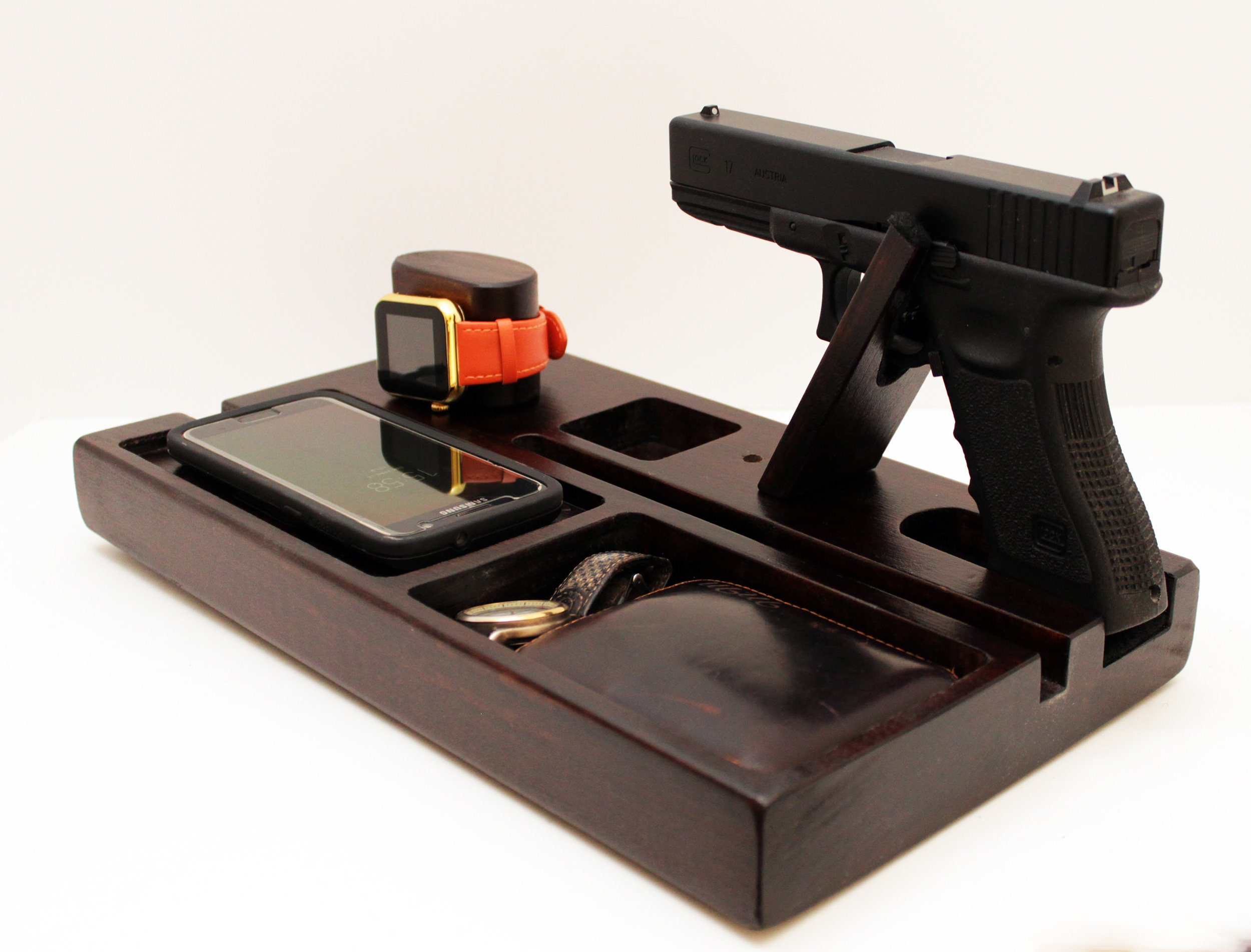 Personalized Gift Gift Idea Edc Valet Tray Charging Station With Qi Charger Iwatch Charger And Gun Holder
