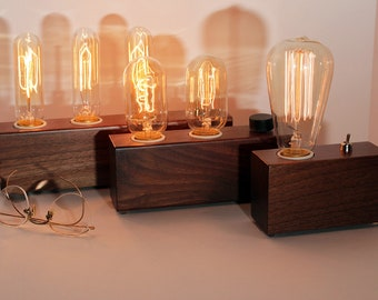 Walnut Wood Lamp with Edison bulb, wood desk lamp, walnut table lamp for industrial décor