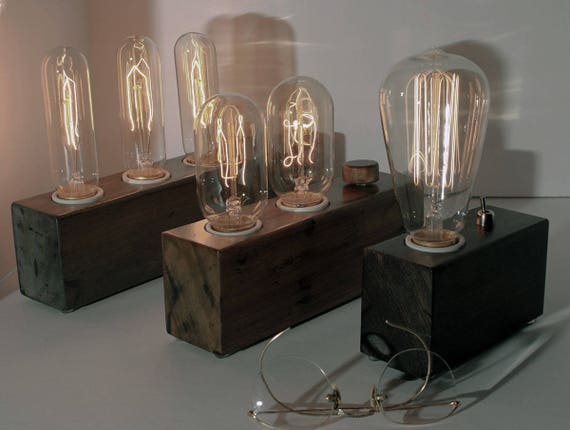 Edison Lamp Table Lamp With Wood Block Lamp Base Including Etsy