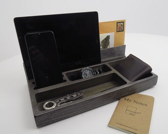 Personalized Gift, Organizer phone, mail, ipad, for him, for her, 5 Years Anniversary, Docking Station, EDC catchall tray