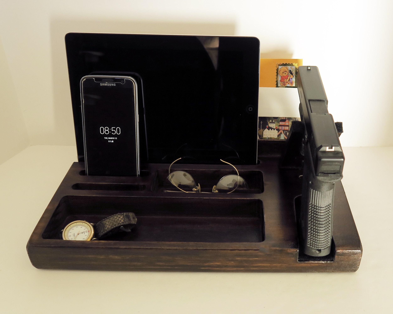 Personalized Gift For Men Fathers Day Gift Gun Nightstand Organizer Policeman Gift Handgun Holder Nightstand Gun Pistol Holder