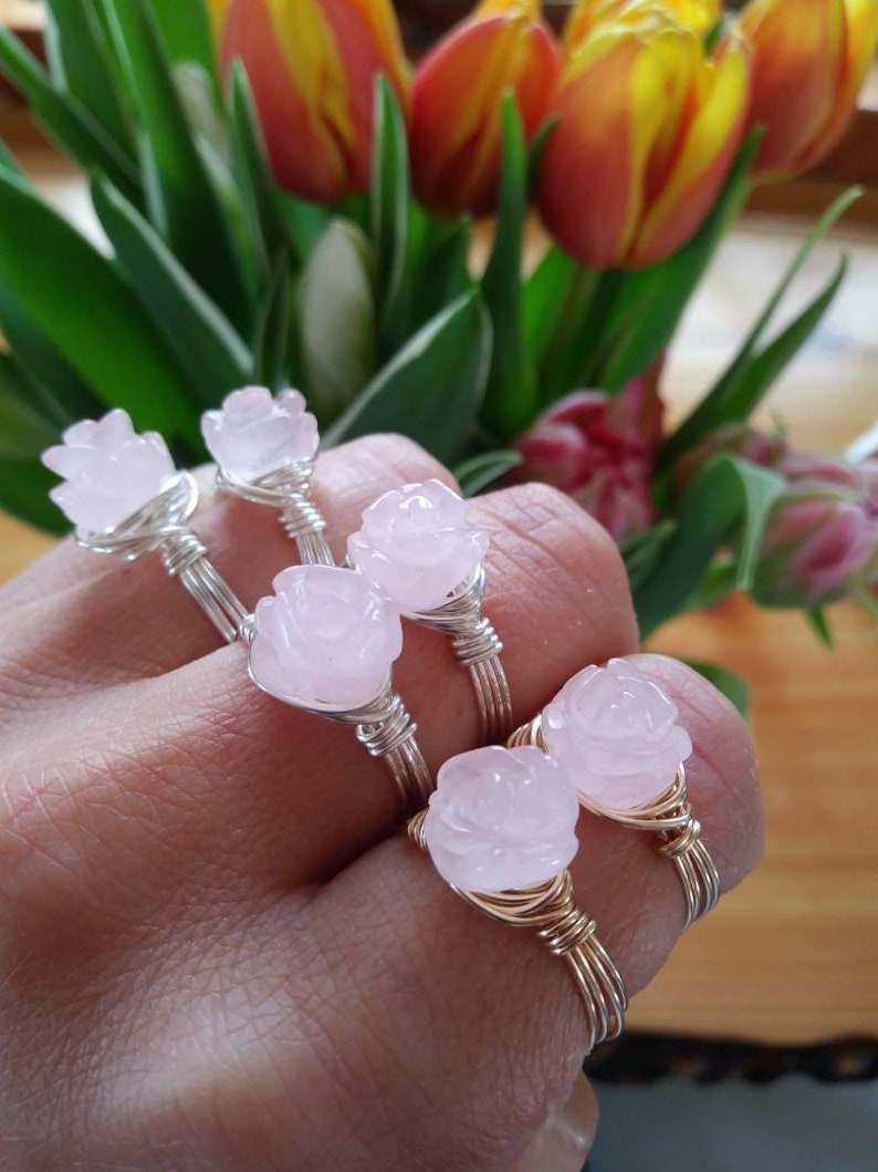 Self Care Rose Quartz Crystal Rose Ring made to size ~ 14K Gold or .925 Sterling Silver wire Mothers Day Gift