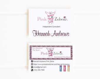 Zebra business card etsy personalized pink zebra business cards pink black zebra print sprinkles consultant cards modern business card boss babe girl boss colourmoves