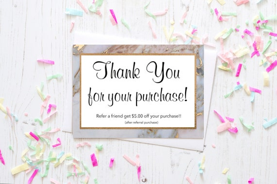 Pink Black Gold Marble Thank You Card Lipsense Younique Etsy