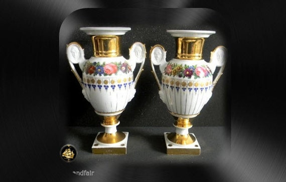 Pair Of Meissen Vases Women And Male Faces In Handles Gold Etsy