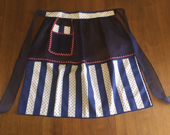 1950's Kitchen Apron - Red, White and Blue