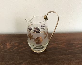 Vintage Frosted Gold Leaf Small Pitcher