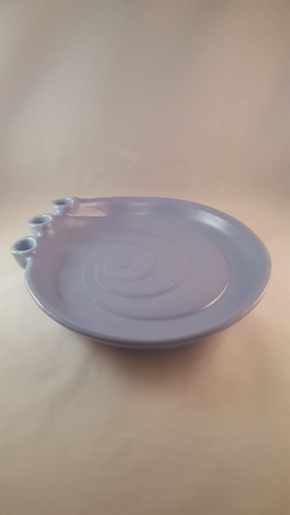 & Haeger USA Blue Candle Holder Plate