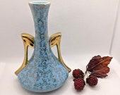 Vintage Robin Egg Blue and Gold Flowers Amphora Bud Vase with 22K Gold Handles, Blue and Gold Pottery, Vintage Blue Floral Vase, Mom Gift