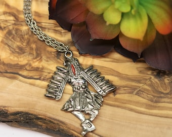 COOL American Kachina Sterling Silver EAGLE DANCER feather headdress WINGS CHARM