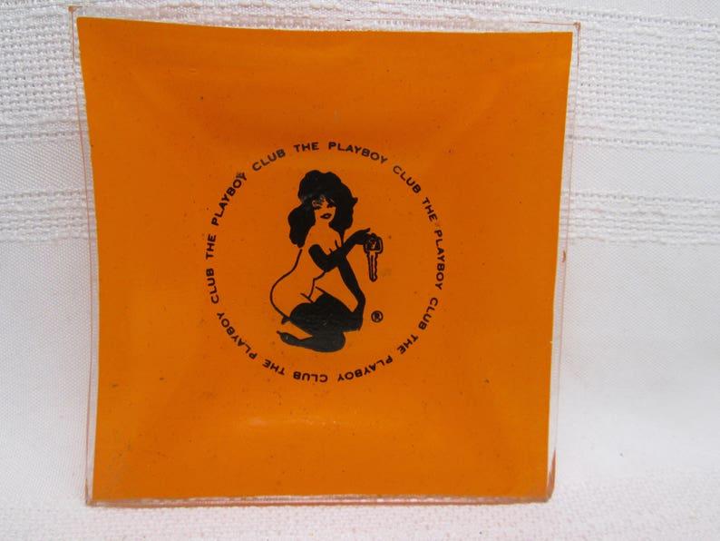 Playboy Club Square Orange Glass Ashtray Trinket Bowl Ring