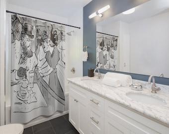 Toulouse Lautrec Shower Curtain Art | Gray Shower Curtain | Bathroom Decor