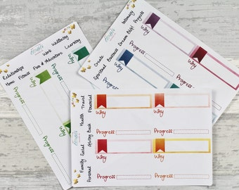Rainbow Goal Setting Kit & Progress Trackers - Stickers for Planners! R040