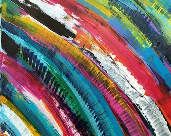 "Rainbow Reach II - 16"" x 20"" Bold Abstract Painting"