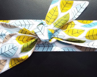Teal and mustard leaves adult head band hair wrap scarf bandana headwrap