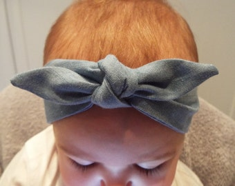 Light blue denim headband head band hair wrap scarf bandana head wrap knot bow baby, toddler or girls