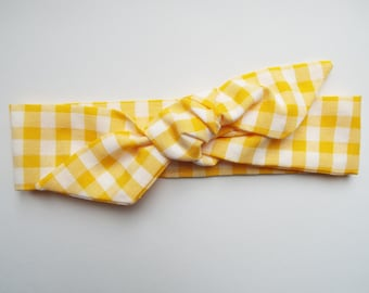 Yellow and white check gingham adult head band hair wrap scarf bandana headwrap