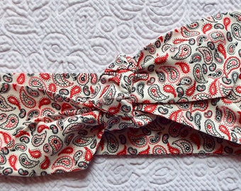 Red paisley adult head band hair wrap scarf bandana headwrap