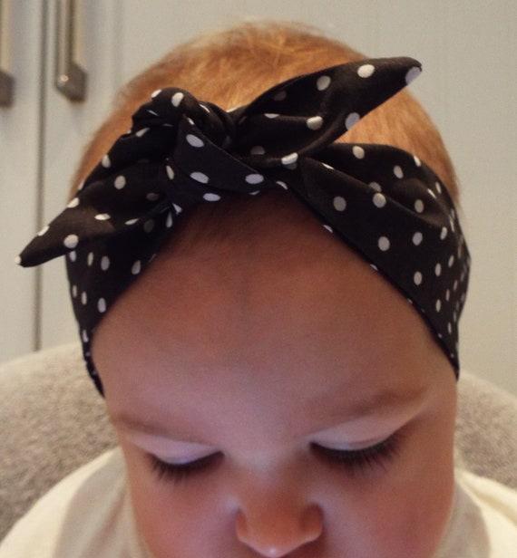 BLUE DENIM HEADWRAP WRAP HEADBAND KNOT BOW BABY TODDLER GIRLS NEW