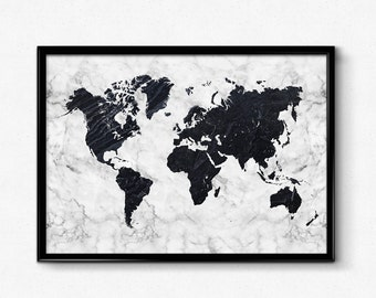 World map poster etsy marble world map poster black and white marble art map art poster home wall posters gallery wall large print gumiabroncs Choice Image