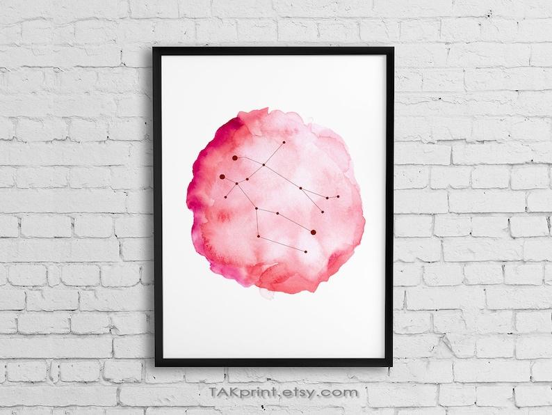 Gemini Zodiac Print, Horoscope Art, Gemini Constellation Wall Art,  Astrology Poster, Gemini Star Sign, Gemini Gift, Pink Watercolor Art