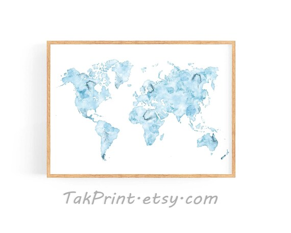 World Map Poster, Blue Watercolor Large Print, Map Of The World, Office on map of the entire world, big map print world in, map of the whole world, detail map of whole world, map of pre-k posters of the world, printable map of whole world, binder paper size printable map of the world, big print united states map,