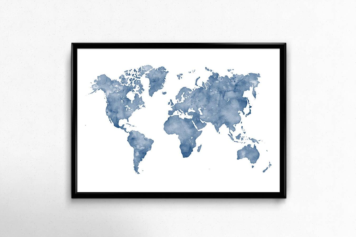 Blue watercolor world map wall art, Map print, Map art, World map poster, Wanderlust art print, Office decor, Navy blue map