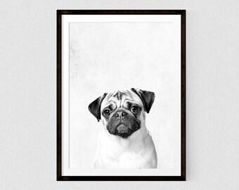 Pug art Pug photography art poster Dog Print Puppy Modern Minimalist Black and White Animal Print