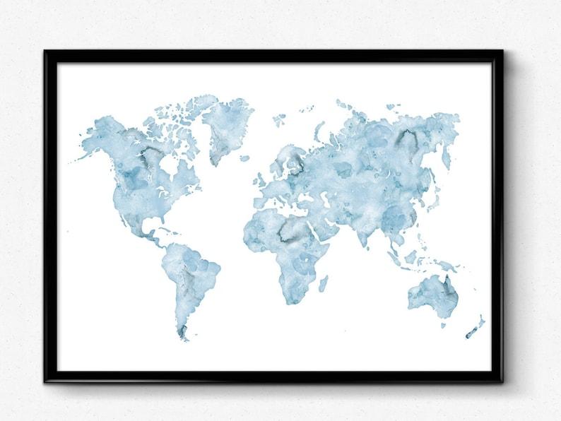 Large World Map Print 24x36 World map wall art Watercolor | Etsy