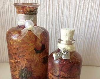 Hand decorated glass bottle - set of 2 by Jannietta