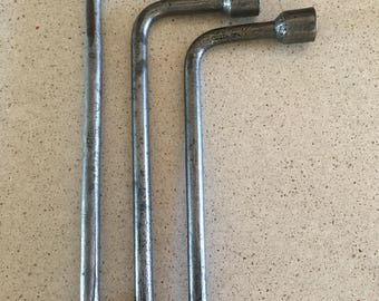 Three Antique Steel Socket Wrenches