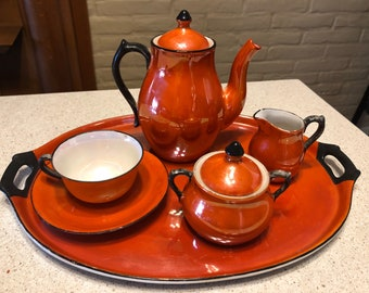 Antique Lusterware Porcelain Childs Tea Set