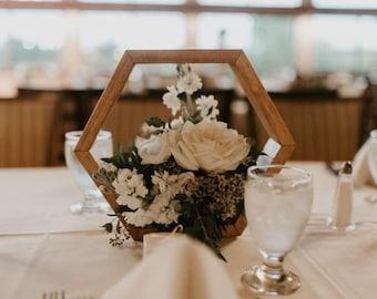 Wood Hexagon Terrarium Frame  | Geometric Terrarium | Wedding Table Decor | Terrarium Centerpiece | Hexagon Arch | Rustic | Barnyard | Decor