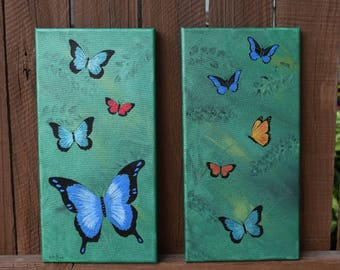 Butterfly Garden - Two Original Hand Painted 7 x 14 Panels