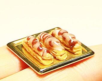 Dollhouse Miniature cake set of 3 on a Golden platter | 1:12 Scale Miniature Food, Diorama,