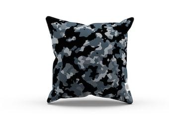 Camo Series: Black Camo Pillowcase w/Stuffing - Black camouflage pillow / Home decor / abstract pillow, abstract