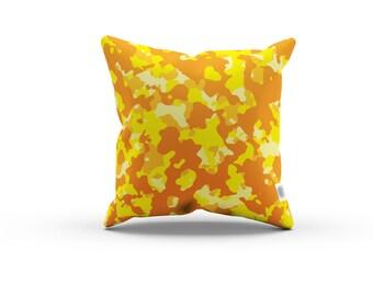 Camo Series: Orange Camo Pillowcase w/Stuffing - Orange Yellow camouflage pillow, Home decor, abstract pillow, abstract