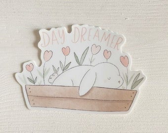 Day Dreamer Bunny - Aesthetic Stickers - Bunny Rabbit Sticker - Decorative Stickers - Cute Die Cut Stickers - Tulips