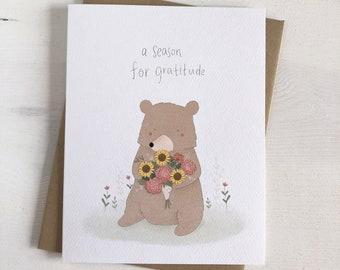 A Season For Gratitude - Fall Stationery - Fall Cards - Bear Greeting Card - Autumn Stationery - Bear Illustration